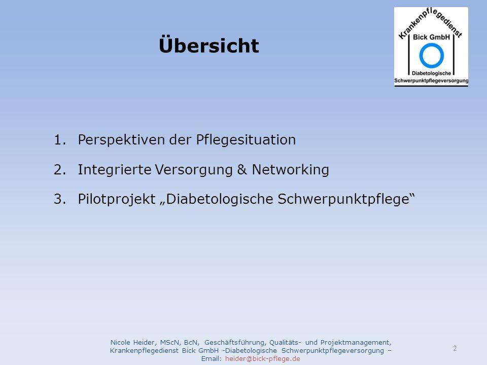 Übersicht 1.Perspektiven der Pflegesituation 2.Integrierte Versorgung & Networking 3.Pilotprojekt Diabetologische Schwerpunktpflege Nicole Heider, MSc