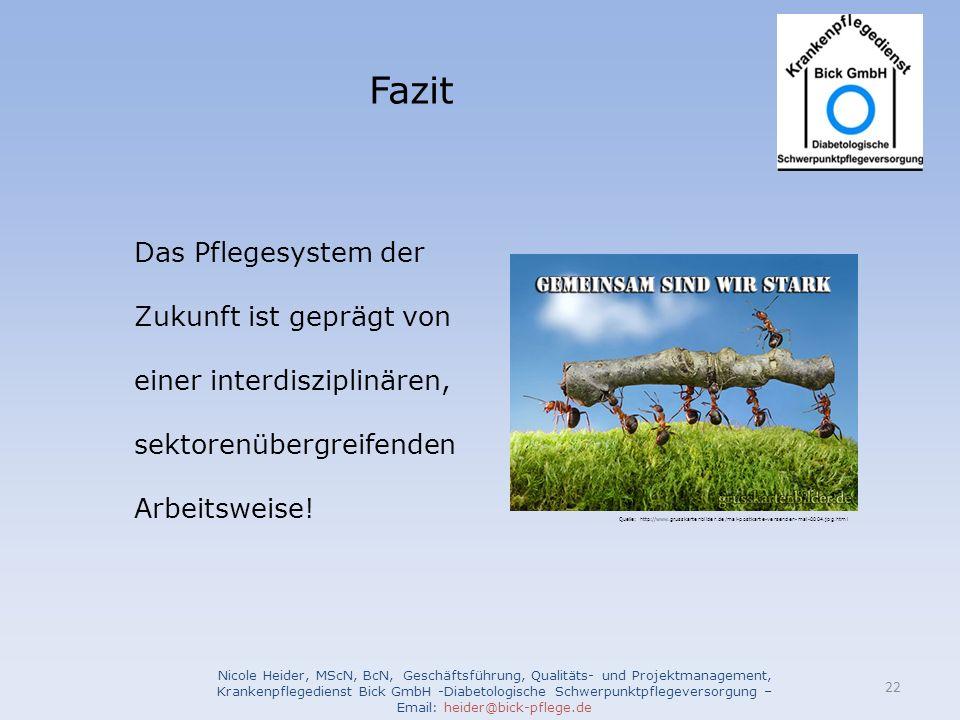Fazit Nicole Heider, MScN, BcN, Geschäftsführung, Qualitäts- und Projektmanagement, Krankenpflegedienst Bick GmbH -Diabetologische Schwerpunktpflegeve