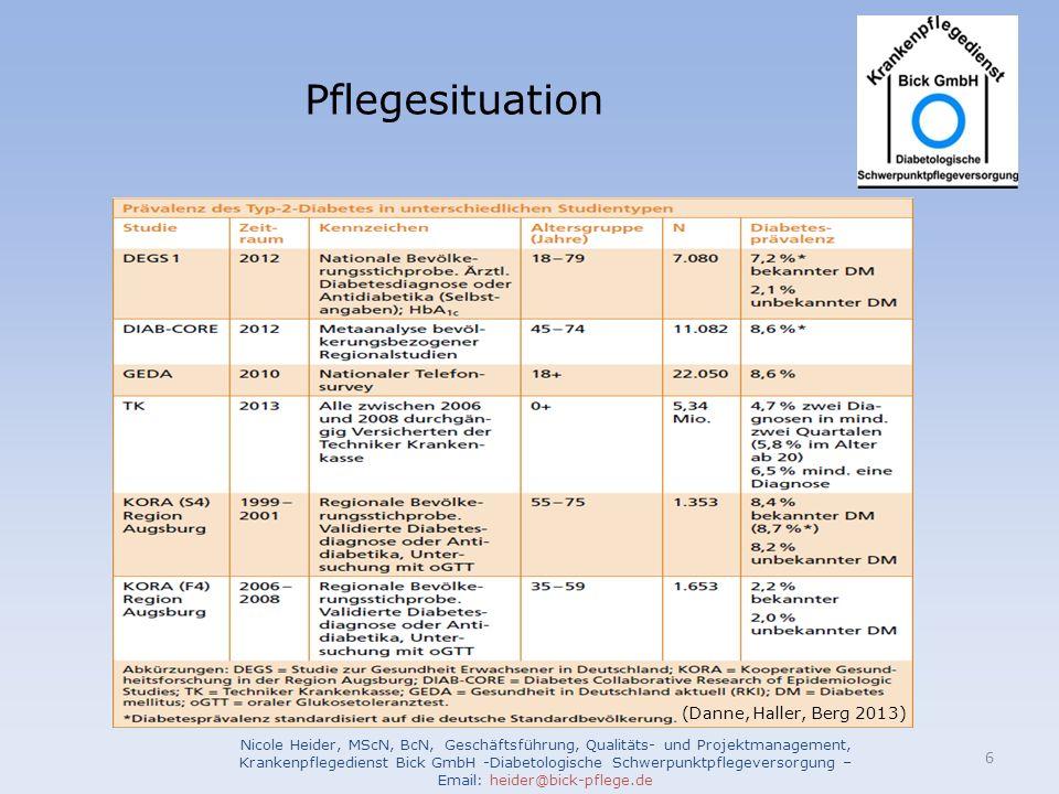 Pflegesituation Nicole Heider, MScN, BcN, Geschäftsführung, Qualitäts- und Projektmanagement, Krankenpflegedienst Bick GmbH -Diabetologische Schwerpun