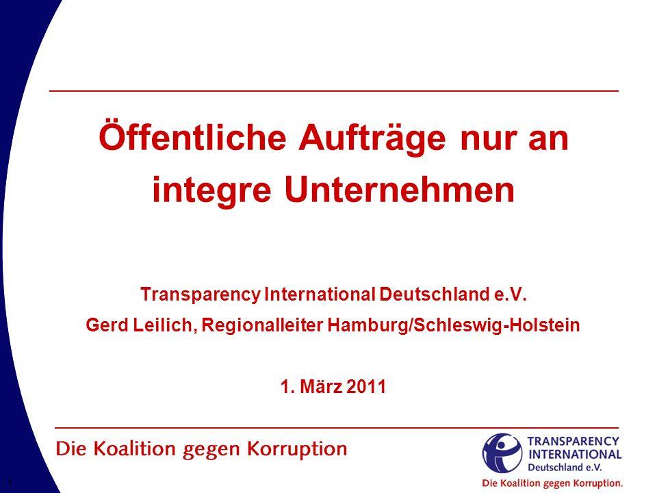 22 Transparency International in Deutschland Eingetragener Verein nach deutschem Recht gemeinnützig anerkannt Gründung im Oktober 5.10.1993 in Berlin Fokus auf Korruptionsbekämpfung in Deutschland im internationalen Kontext