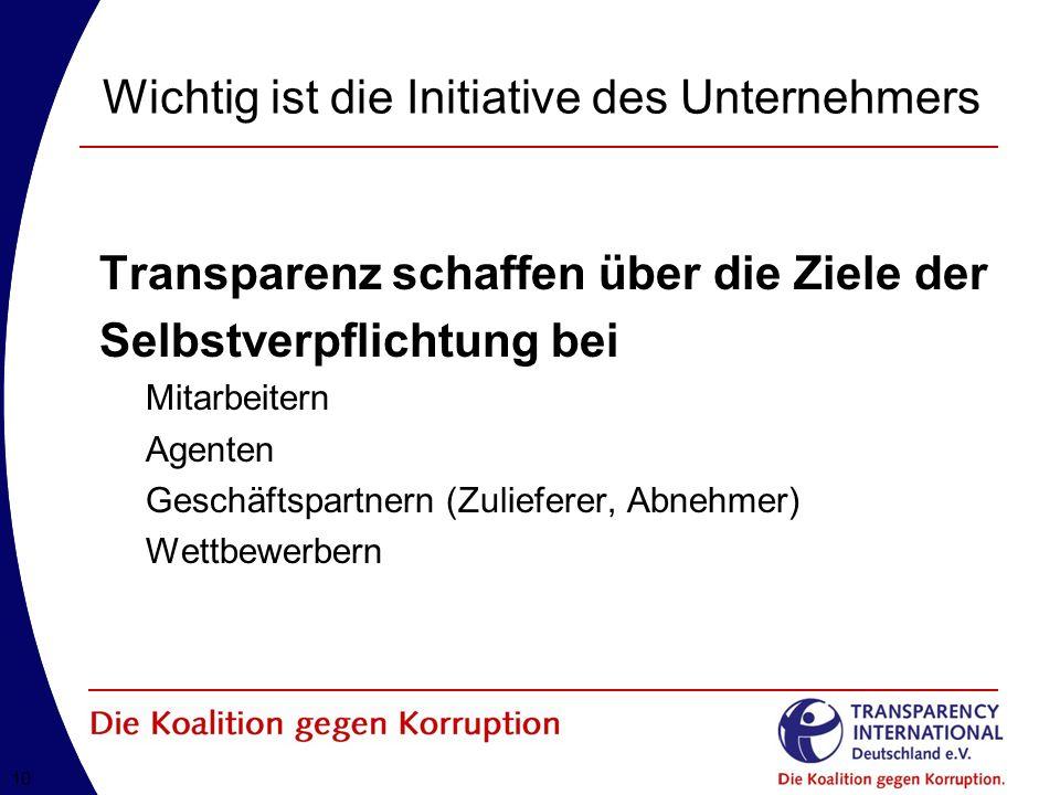 10 Wichtig ist die Initiative des Unternehmers Transparenz schaffen über die Ziele der Selbstverpflichtung bei Mitarbeitern Agenten Geschäftspartnern (Zulieferer, Abnehmer) Wettbewerbern