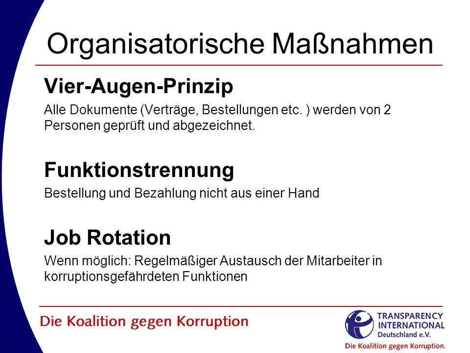11 Organisatorische Maßnahmen Vier-Augen-Prinzip Alle Dokumente (Verträge, Bestellungen etc.