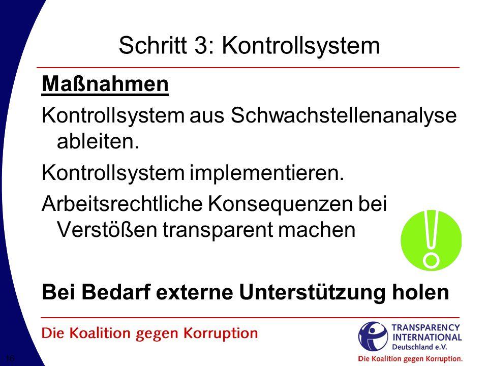 16 Schritt 3: Kontrollsystem Maßnahmen Kontrollsystem aus Schwachstellenanalyse ableiten.