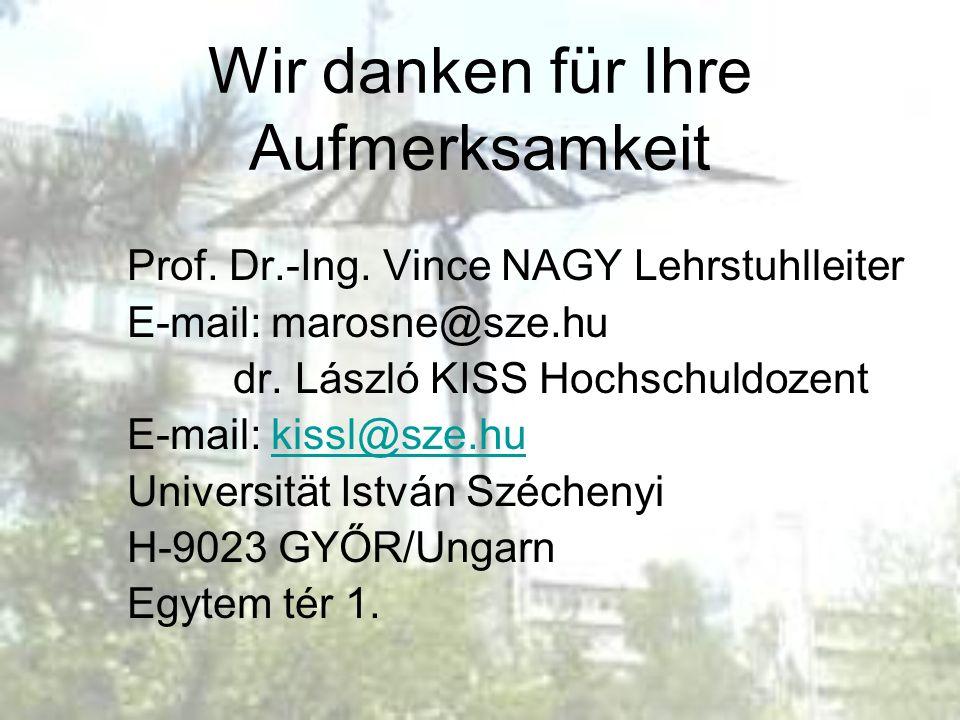 Wir danken für Ihre Aufmerksamkeit Prof. Dr.-Ing. Vince NAGY Lehrstuhlleiter E-mail: marosne@sze.hu dr. László KISS Hochschuldozent E-mail: kissl@sze.