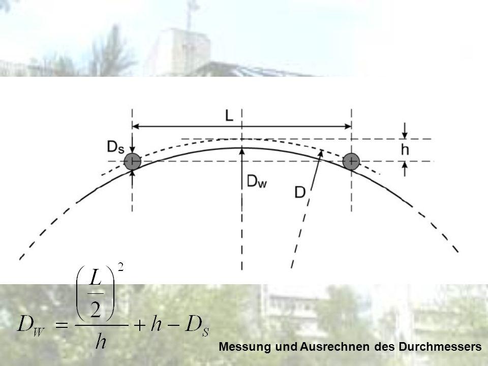 Messung und Ausrechnen des Durchmessers