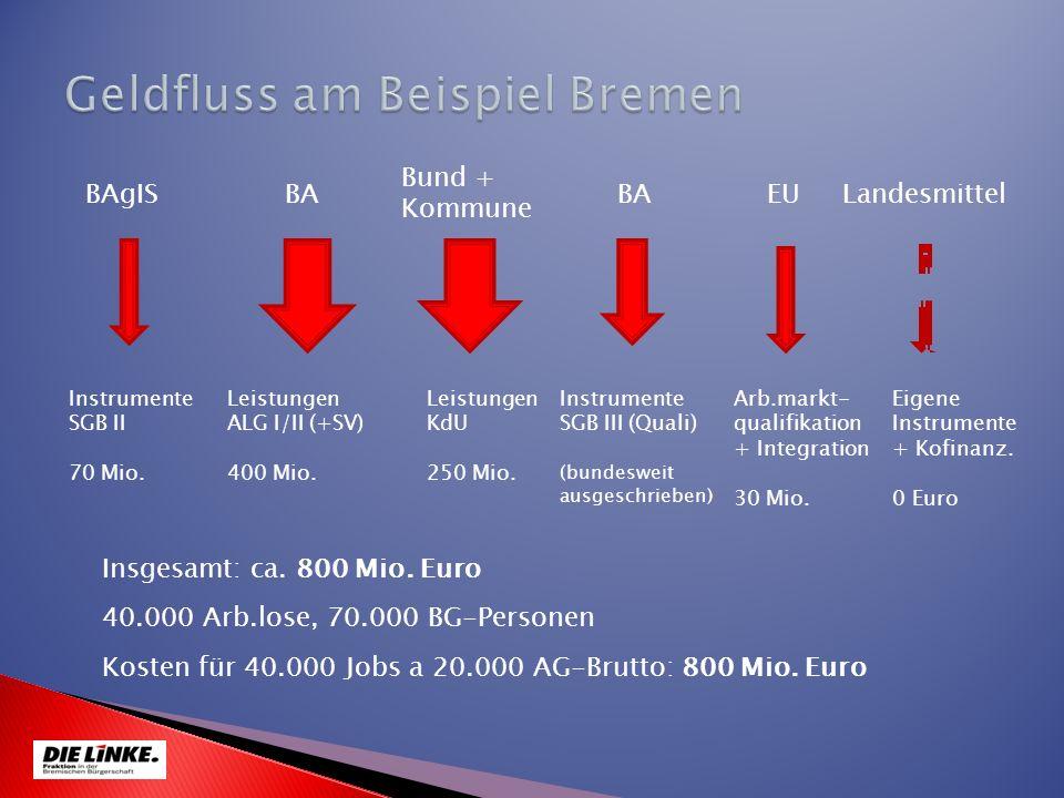 BAgISEUBA Bund + Kommune BA Instrumente SGB II 70 Mio. Leistungen KdU 250 Mio. Leistungen ALG I/II (+SV) 400 Mio. Landesmittel Instrumente SGB III (Qu