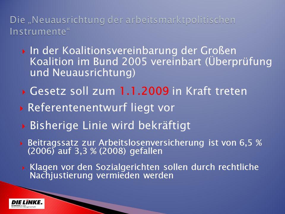 Gesetz soll zum 1.1.2009 in Kraft treten In der Koalitionsvereinbarung der Großen Koalition im Bund 2005 vereinbart (Überprüfung und Neuausrichtung) B