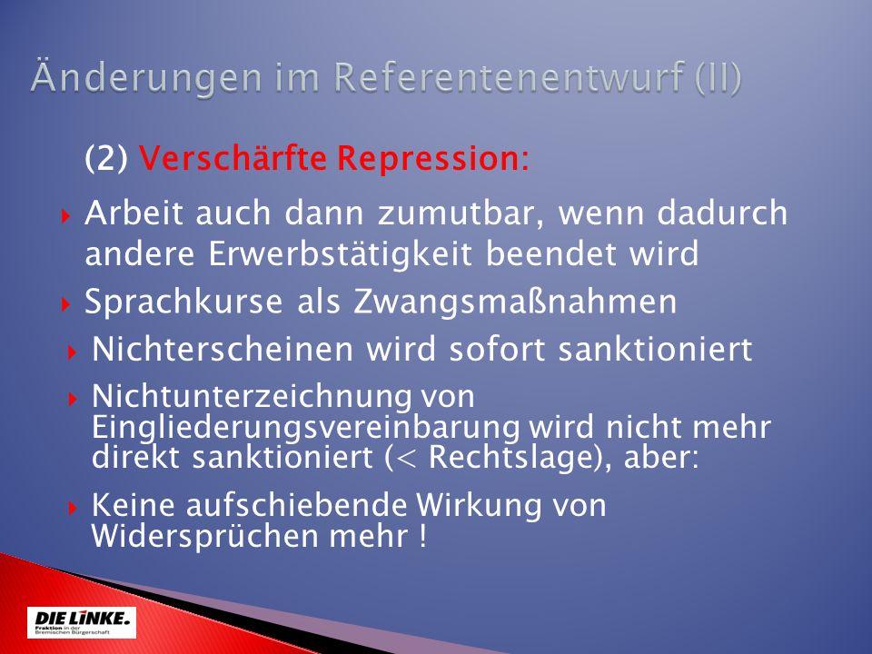 Arbeit auch dann zumutbar, wenn dadurch andere Erwerbstätigkeit beendet wird (2) Verschärfte Repression: Keine aufschiebende Wirkung von Widersprüchen