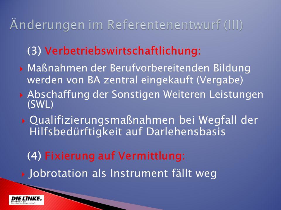 Maßnahmen der Berufvorbereitenden Bildung werden von BA zentral eingekauft (Vergabe) (3) Verbetriebswirtschaftlichung: Jobrotation als Instrument fäll