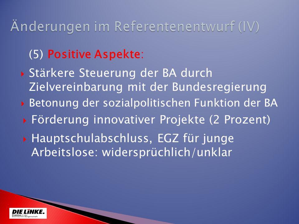 Stärkere Steuerung der BA durch Zielvereinbarung mit der Bundesregierung (5) Positive Aspekte: Betonung der sozialpolitischen Funktion der BA Hauptsch