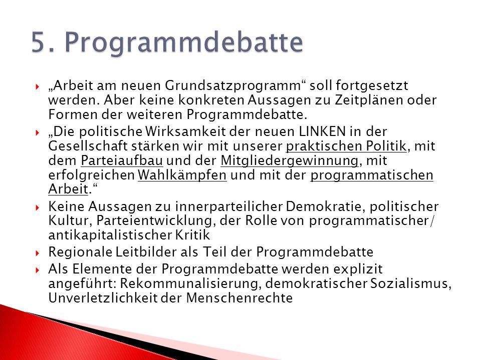 Arbeit am neuen Grundsatzprogramm soll fortgesetzt werden.