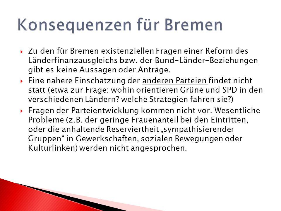 Zu den für Bremen existenziellen Fragen einer Reform des Länderfinanzausgleichs bzw.