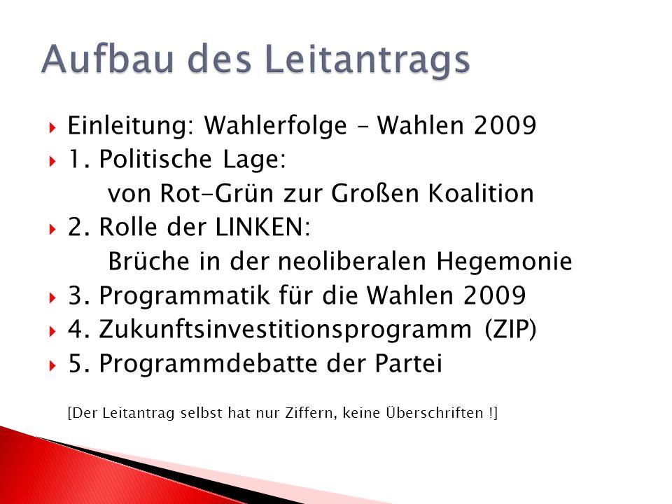 Der Leitantrag ist verhältnismäßig kurz (6 Seiten) Er konzentriert sich auf die Vorbereitung der Wahlen 2009.