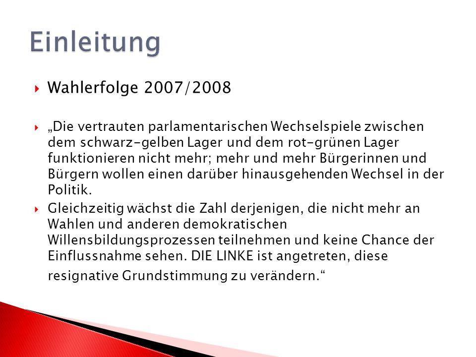 Wahlerfolge 2007/2008 Die vertrauten parlamentarischen Wechselspiele zwischen dem schwarz-gelben Lager und dem rot-grünen Lager funktionieren nicht mehr; mehr und mehr Bürgerinnen und Bürgern wollen einen darüber hinausgehenden Wechsel in der Politik.