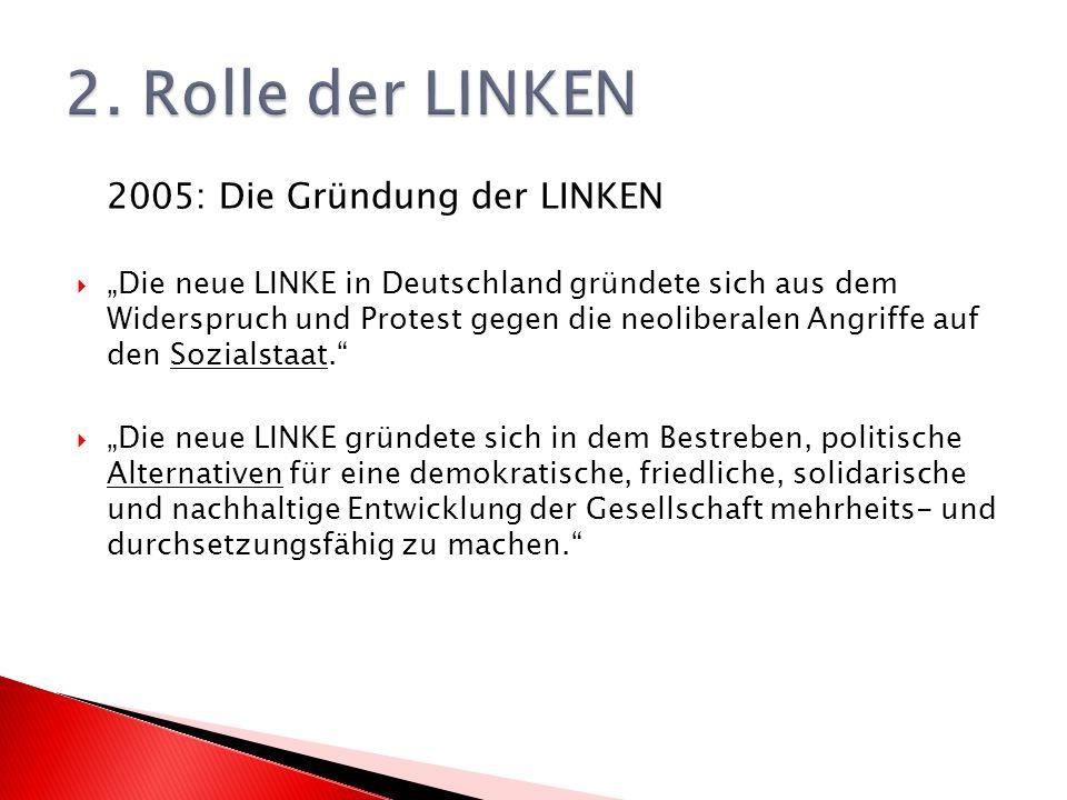 2005: Die Gründung der LINKEN Die neue LINKE in Deutschland gründete sich aus dem Widerspruch und Protest gegen die neoliberalen Angriffe auf den Sozialstaat.