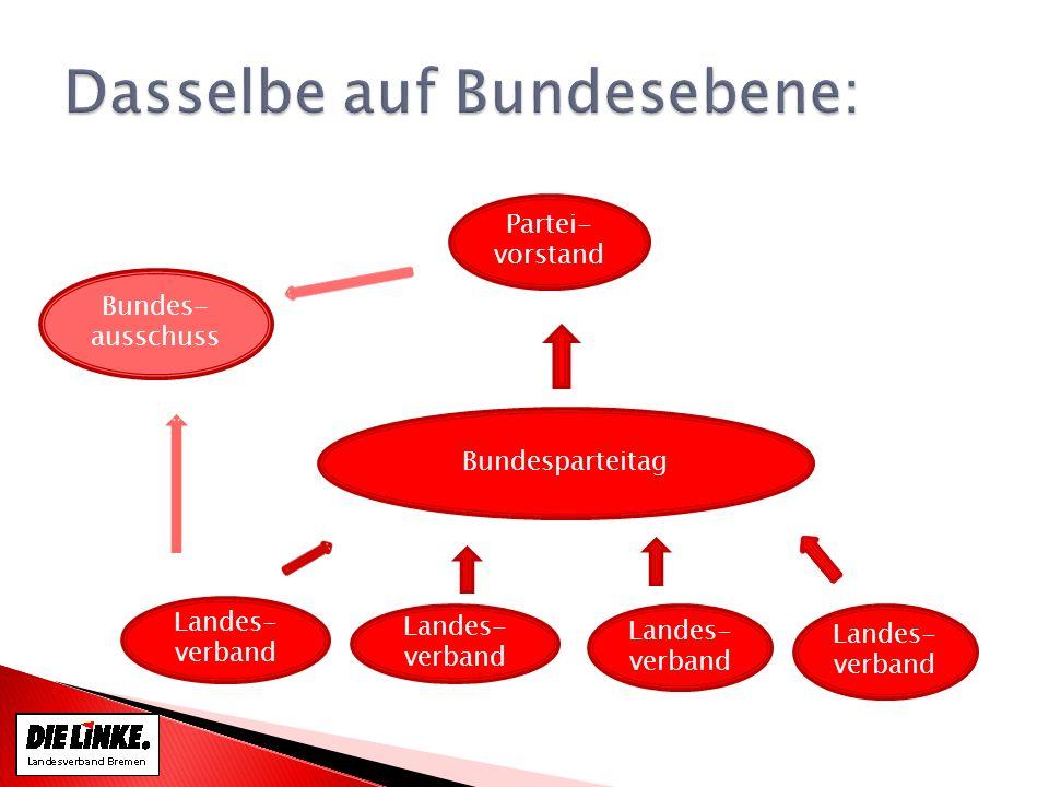 Bundesparteitag Partei- vorstand Landes- verband Bundes- ausschuss
