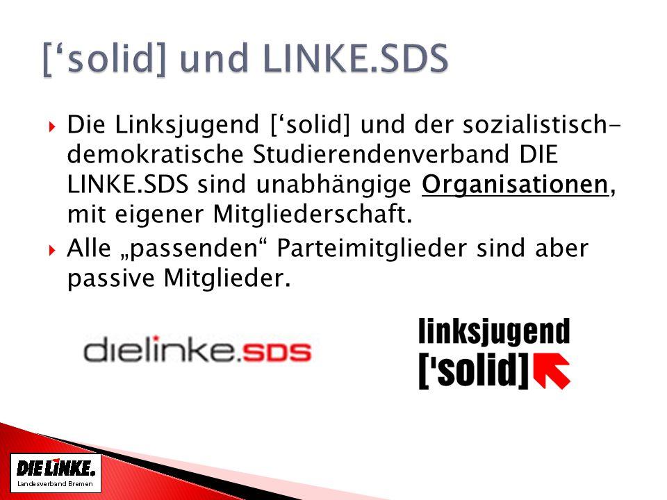 Die Linksjugend [solid] und der sozialistisch- demokratische Studierendenverband DIE LINKE.SDS sind unabhängige Organisationen, mit eigener Mitgliederschaft.