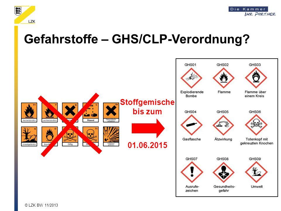 Gefahrstoffe – GHS/CLP-Verordnung? Stoffgemische bis zum 01.06.2015 © LZK BW 11/2013