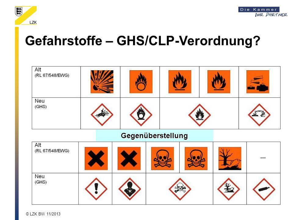 Gegenüberstellung Gefahrstoffe – GHS/CLP-Verordnung? © LZK BW 11/2013