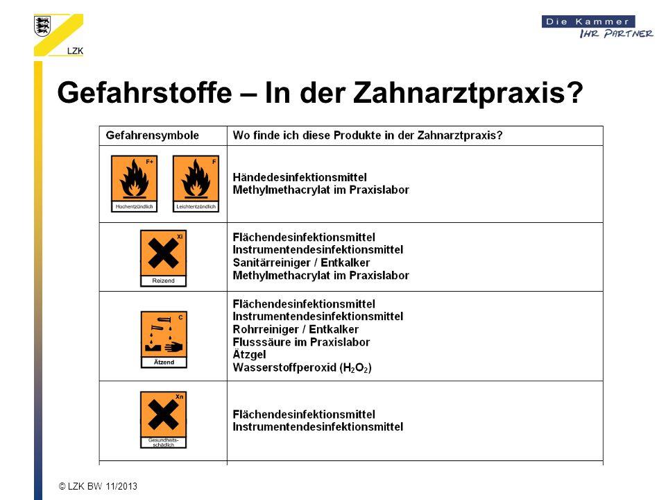 Gefahrstoffe – In der Zahnarztpraxis? © LZK BW 11/2013