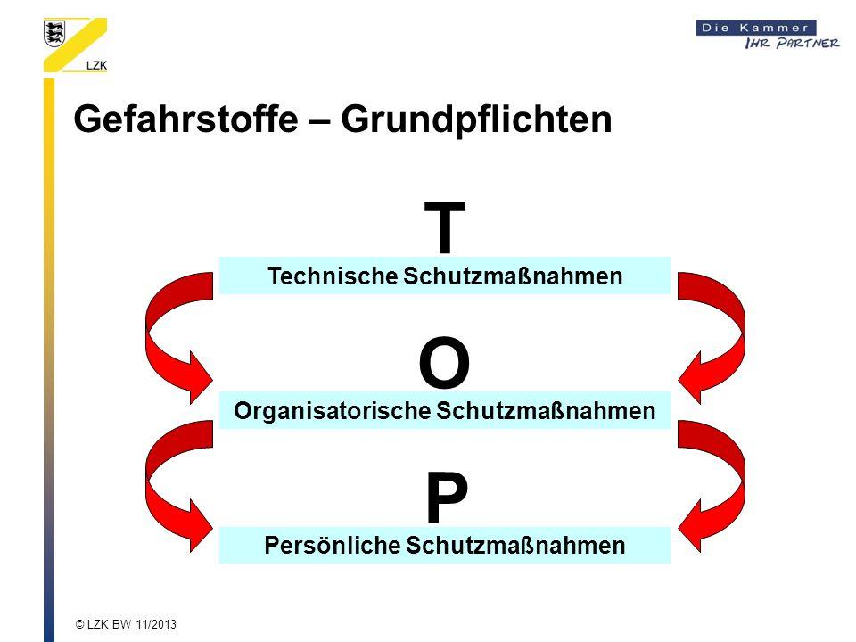 Technische Schutzmaßnahmen T Organisatorische Schutzmaßnahmen O Persönliche Schutzmaßnahmen P Gefahrstoffe – Grundpflichten © LZK BW 11/2013