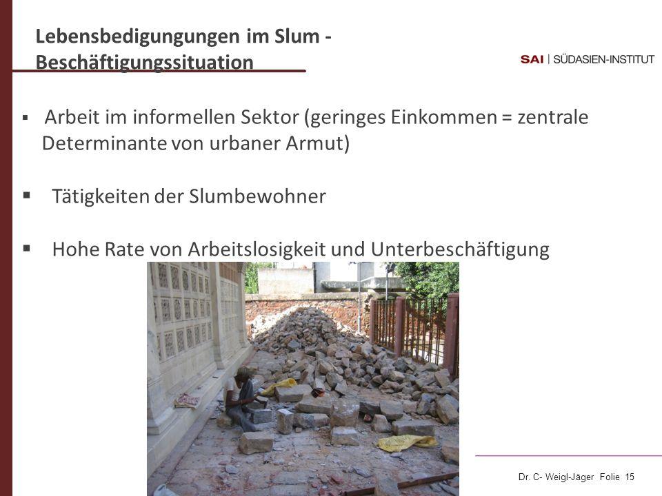 Dr. C- Weigl-Jäger Folie 15 Lebensbedigungungen im Slum - Beschäftigungssituation Arbeit im informellen Sektor (geringes Einkommen = zentrale Determin