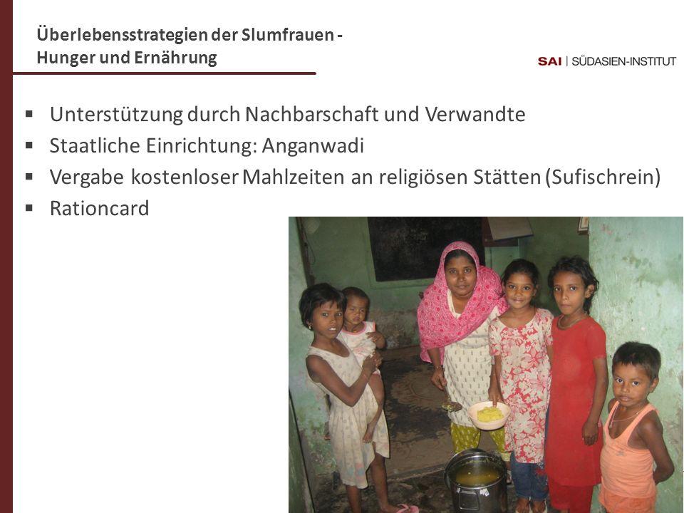 Dr. C- Weigl-Jäger Folie 17 Überlebensstrategien der Slumfrauen - Hunger und Ernährung Unterstützung durch Nachbarschaft und Verwandte Staatliche Einr
