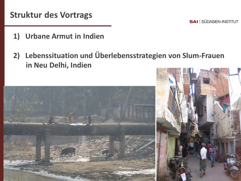 Dr. C- Weigl-Jäger Folie 2 1) Urbane Armut in Indien 2)Lebenssituation und Überlebensstrategien von Slum-Frauen in Neu Delhi, Indien Struktur des Vort