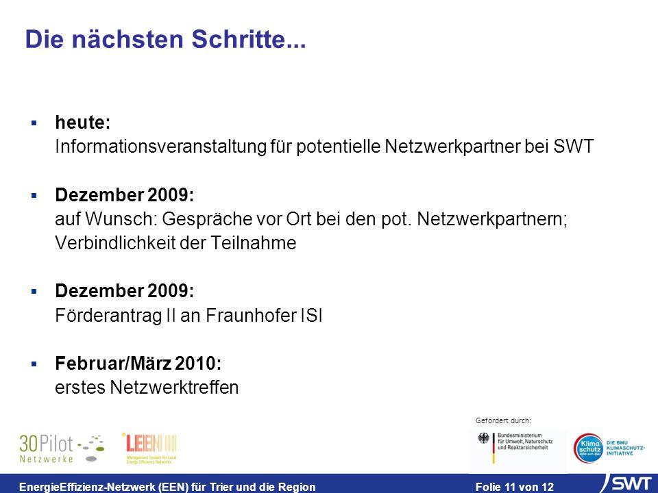 Gefördert durch: EnergieEffizienz-Netzwerk (EEN) für Trier und die Region Folie 11 von 12 Die nächsten Schritte...