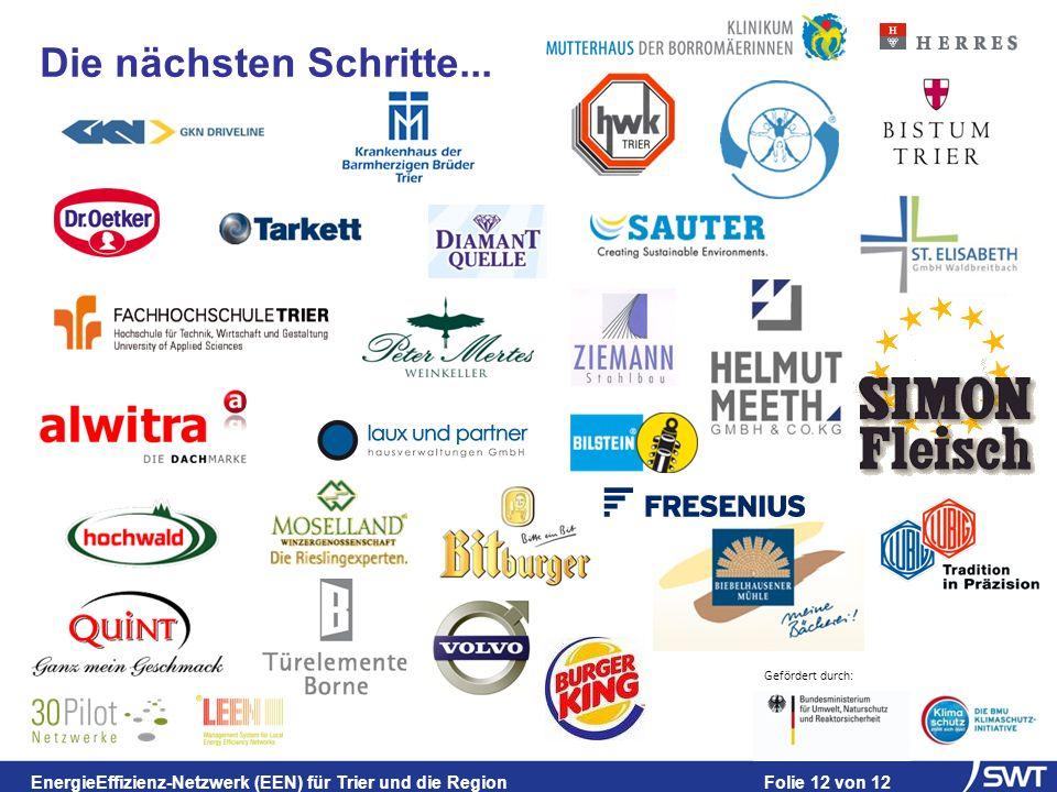 Gefördert durch: EnergieEffizienz-Netzwerk (EEN) für Trier und die Region Folie 12 von 12 Die nächsten Schritte...