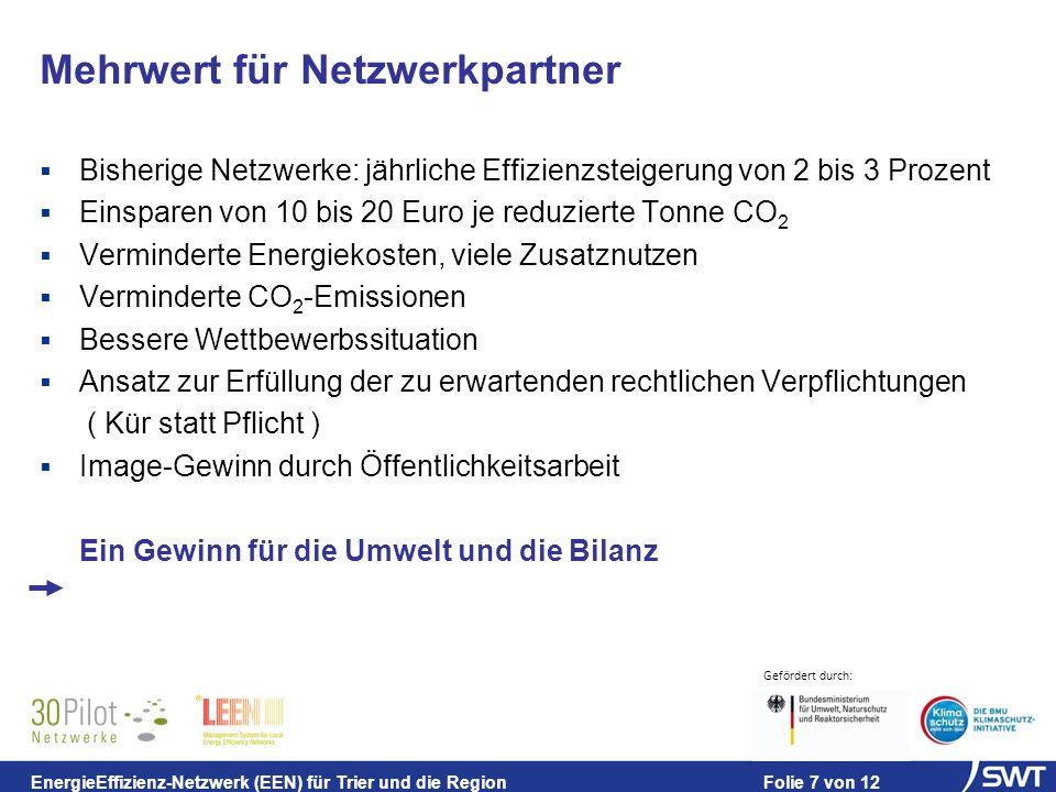 Gefördert durch: EnergieEffizienz-Netzwerk (EEN) für Trier und die Region Folie 7 von 12 Bisherige Netzwerke: jährliche Effizienzsteigerung von 2 bis 3 Prozent Einsparen von 10 bis 20 Euro je reduzierte Tonne CO 2 Verminderte Energiekosten, viele Zusatznutzen Verminderte CO 2 -Emissionen Bessere Wettbewerbssituation Ansatz zur Erfüllung der zu erwartenden rechtlichen Verpflichtungen ( Kür statt Pflicht ) Image-Gewinn durch Öffentlichkeitsarbeit Ein Gewinn für die Umwelt und die Bilanz Mehrwert für Netzwerkpartner