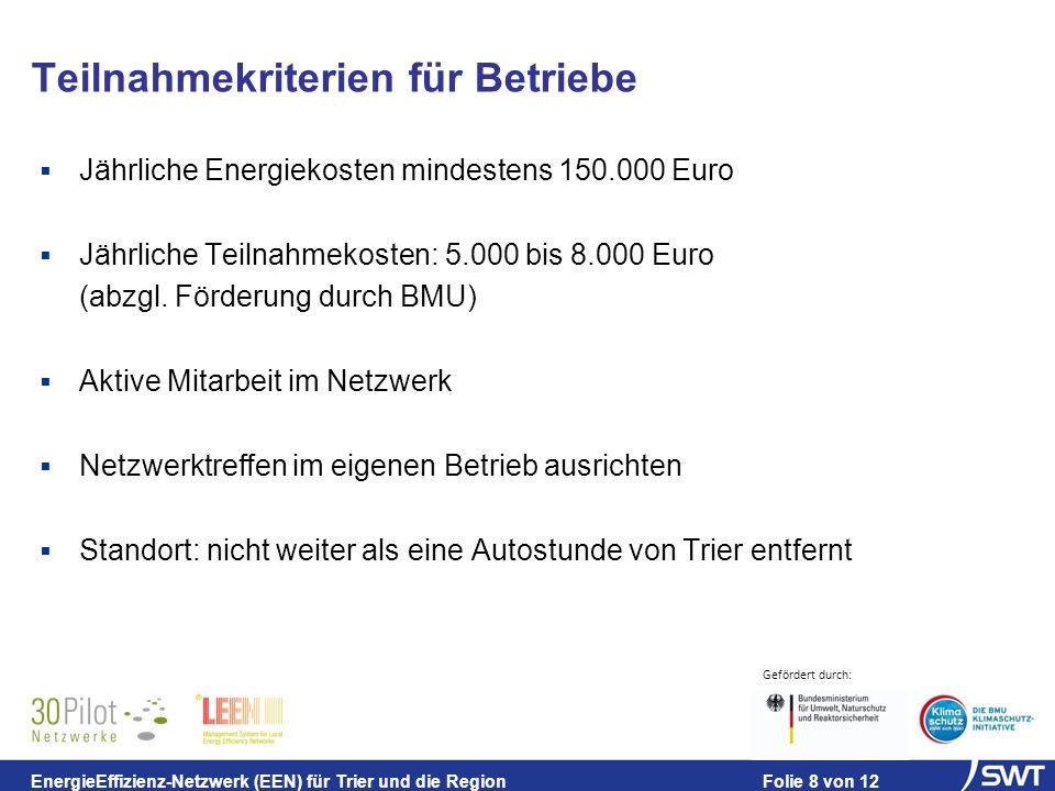 Gefördert durch: EnergieEffizienz-Netzwerk (EEN) für Trier und die Region Folie 8 von 12 Teilnahmekriterien für Betriebe Jährliche Energiekosten mindestens 150.000 Euro Jährliche Teilnahmekosten: 5.000 bis 8.000 Euro (abzgl.