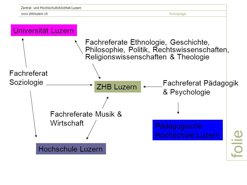 folie Zentral- und Hochschulbibliothek Luzern www.zhbluzern.chhomepage ZHB Luzern Universität Luzern Hochschule Luzern Fachreferate Musik & Wirtschaft