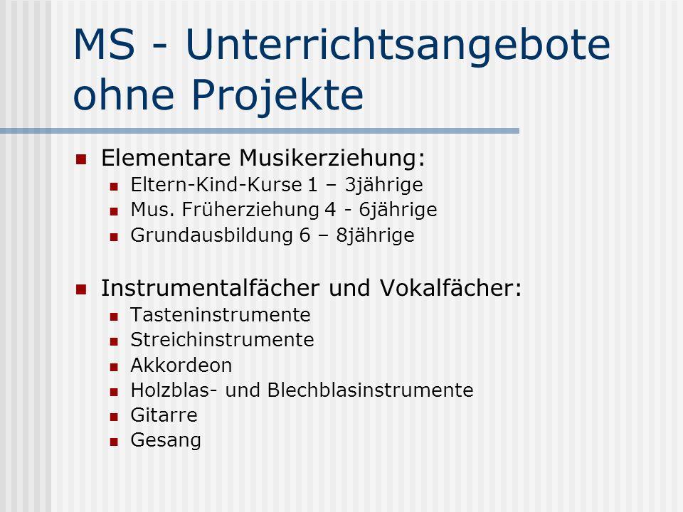 MS - Unterrichtsangebote ohne Projekte Ergänzungsfächer: Musiktheorie Musikgeschichte Liedbegleitung Ensembles: Chor Akkordeonensembles Blockflötenspielkreise Band