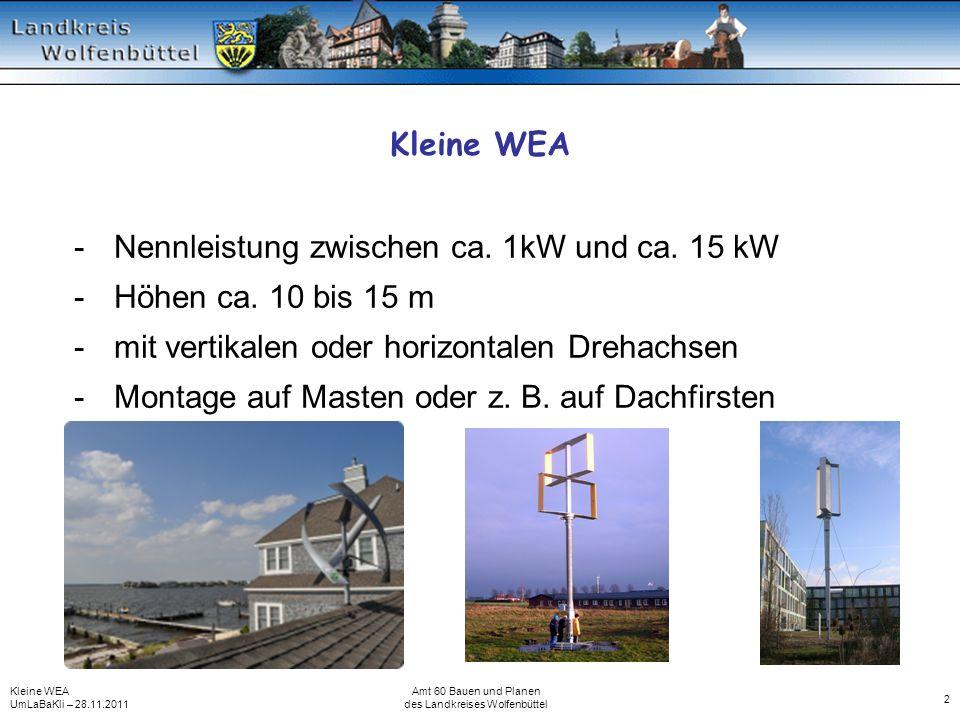 Kleine WEA UmLaBaKli – 28.11.2011 Amt 60 Bauen und Planen des Landkreises Wolfenbüttel 2 Kleine WEA -Nennleistung zwischen ca. 1kW und ca. 15 kW -Höhe