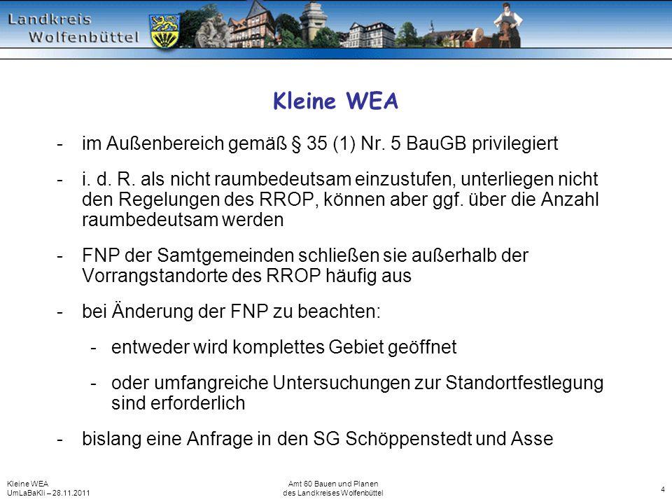 Kleine WEA UmLaBaKli – 28.11.2011 Amt 60 Bauen und Planen des Landkreises Wolfenbüttel 4 Kleine WEA -im Außenbereich gemäß § 35 (1) Nr. 5 BauGB privil