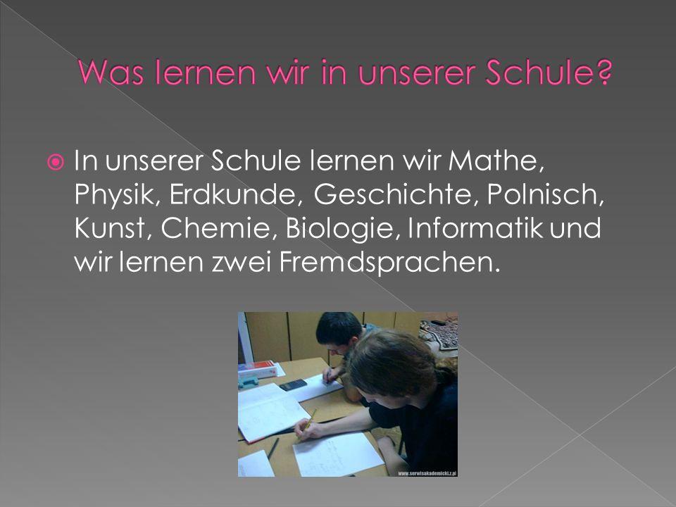 In unserer Schule lernen wir Mathe, Physik, Erdkunde, Geschichte, Polnisch, Kunst, Chemie, Biologie, Informatik und wir lernen zwei Fremdsprachen.