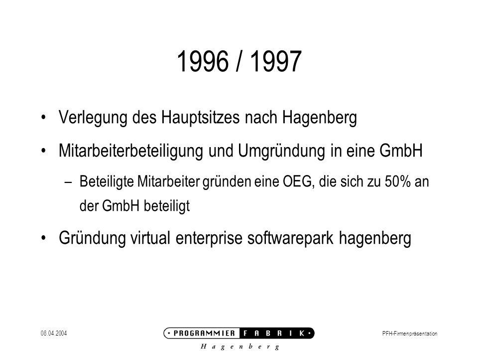 08.04.2004PFH-Firmenpräsentation 1996 / 1997 Verlegung des Hauptsitzes nach Hagenberg Mitarbeiterbeteiligung und Umgründung in eine GmbH –Beteiligte Mitarbeiter gründen eine OEG, die sich zu 50% an der GmbH beteiligt Gründung virtual enterprise softwarepark hagenberg