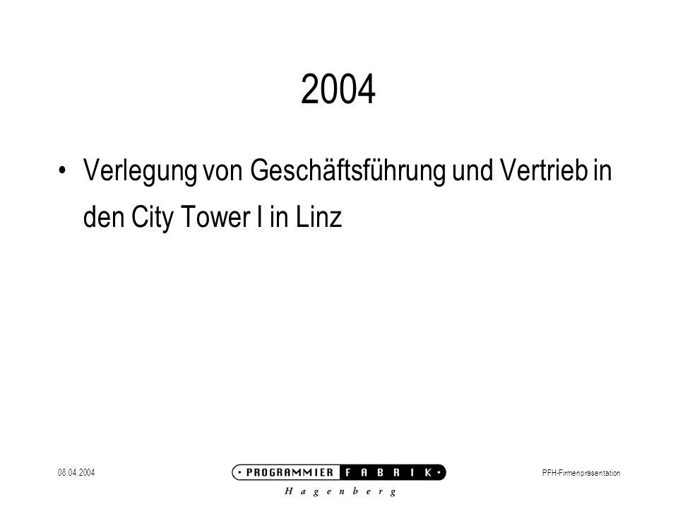 08.04.2004PFH-Firmenpräsentation 2004 Verlegung von Geschäftsführung und Vertrieb in den City Tower I in Linz