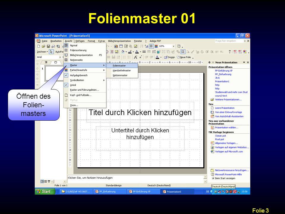 Folie 14 Animation 01 Animationsschemas und Benutzerdefinierte Animation, um Texte und Objekte zu animieren Die Animationsschemas und die Benutzer- definierte Animation unterscheiden sich nur gering voneinander.