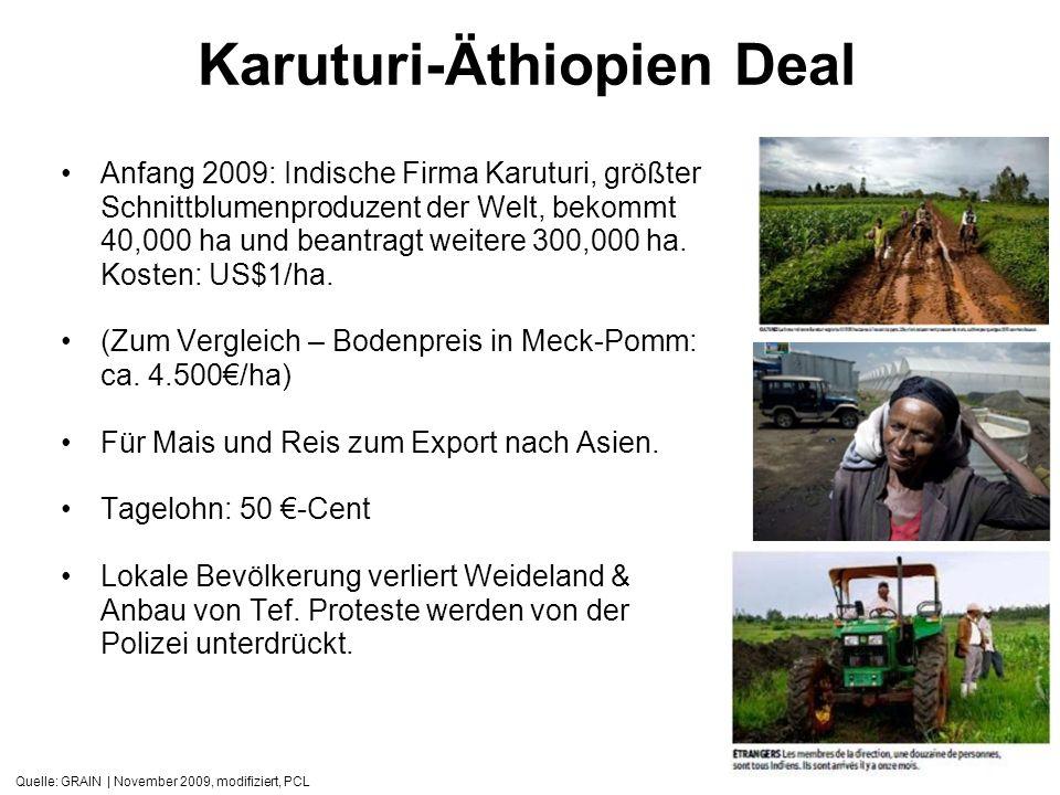 Quelle: GRAIN | November 2009, modifiziert, PCL Karuturi-Äthiopien Deal Anfang 2009: Indische Firma Karuturi, größter Schnittblumenproduzent der Welt,
