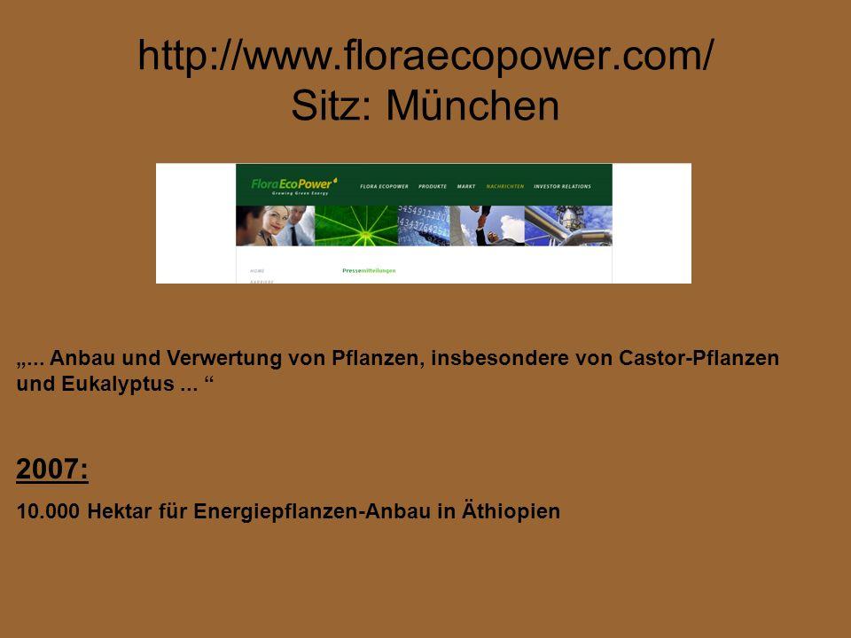 http://www.floraecopower.com/ Sitz: München... Anbau und Verwertung von Pflanzen, insbesondere von Castor-Pflanzen und Eukalyptus... 2007: 10.000 Hekt