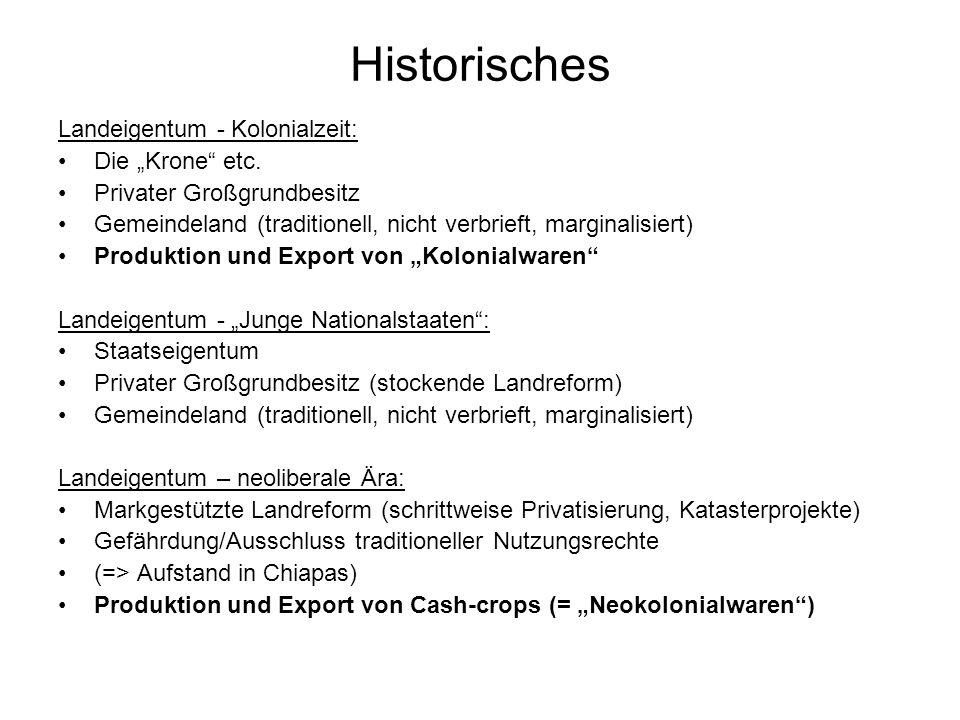 Historisches Landeigentum - Kolonialzeit: Die Krone etc. Privater Großgrundbesitz Gemeindeland (traditionell, nicht verbrieft, marginalisiert) Produkt