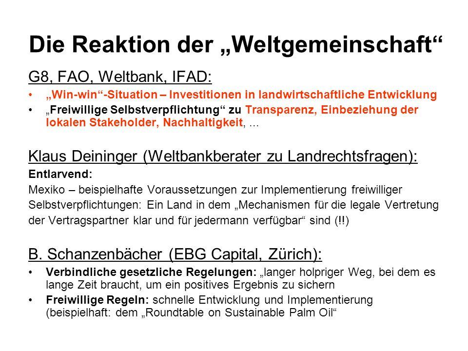 Die Reaktion der Weltgemeinschaft G8, FAO, Weltbank, IFAD: Win-win-Situation – Investitionen in landwirtschaftliche Entwicklung Freiwillige Selbstverp