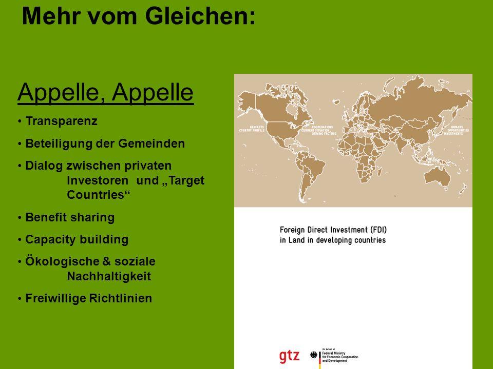 Mehr vom Gleichen: Appelle, Appelle Transparenz Beteiligung der Gemeinden Dialog zwischen privaten Investoren und Target Countries Benefit sharing Cap