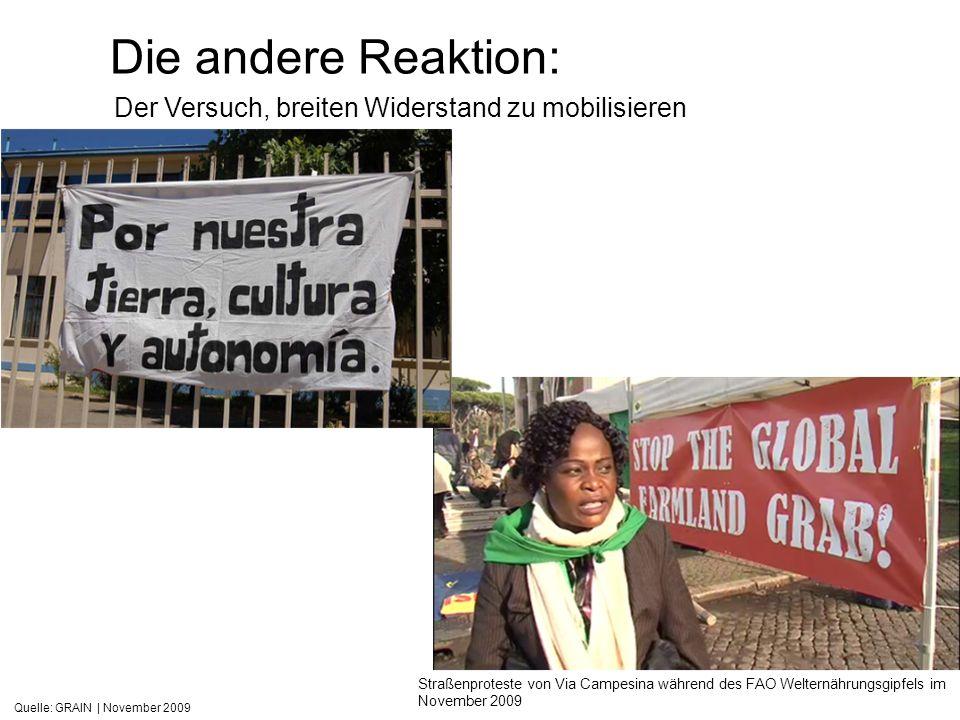 Quelle: GRAIN | November 2009 Die andere Reaktion: Straßenproteste von Via Campesina während des FAO Welternährungsgipfels im November 2009 Der Versuc