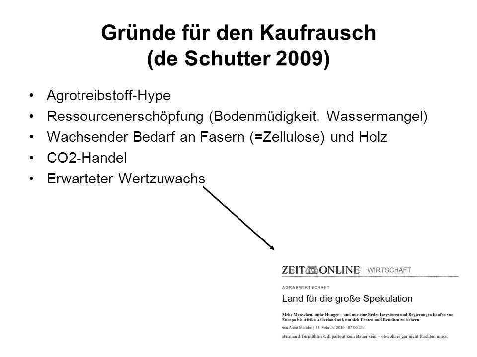 Gründe für den Kaufrausch (de Schutter 2009) Agrotreibstoff-Hype Ressourcenerschöpfung (Bodenmüdigkeit, Wassermangel) Wachsender Bedarf an Fasern (=Ze