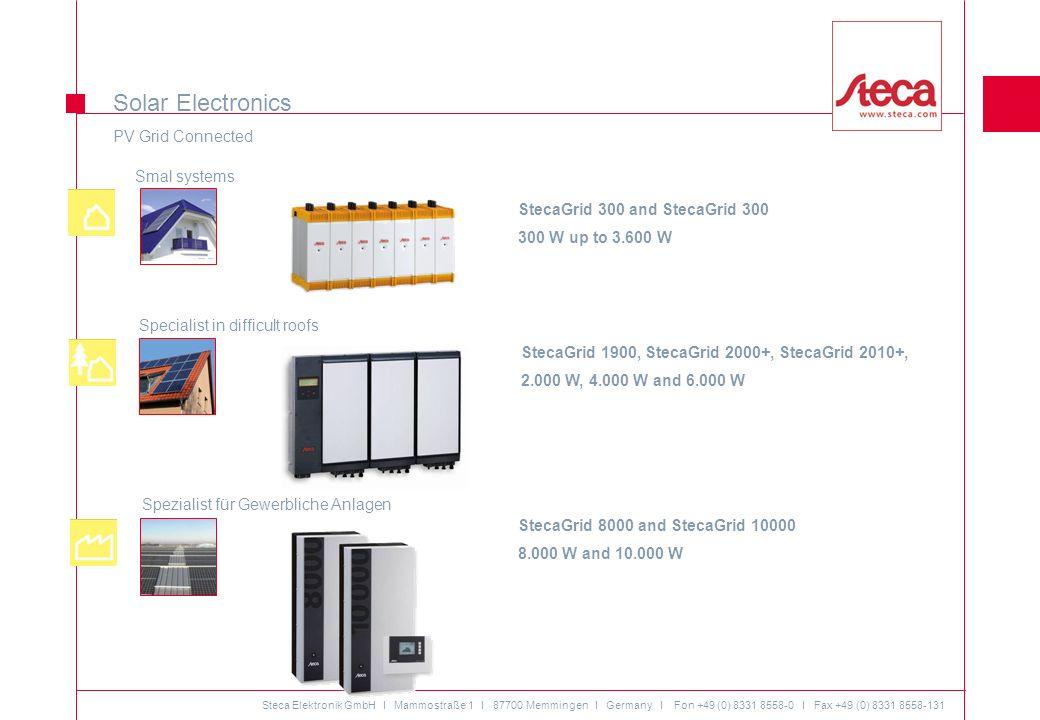 Steca Elektronik GmbH I Mammostraße 1 I 87700 Memmingen I Germany I Fon +49 (0) 8331 8558-0 I Fax +49 (0) 8331 8558-131 01/09 © Alle Rechte bei Steca