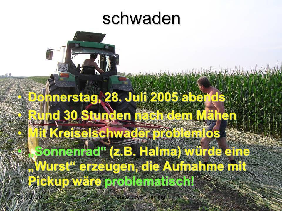 30. Juli 2005erstellt von Grimling4schwaden Donnerstag, 28. Juli 2005 abends Rund 30 Stunden nach dem Mähen Mit Kreiselschwader problemlos Sonnenrad (