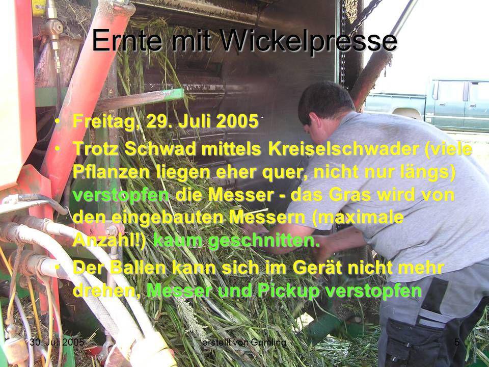 30. Juli 2005erstellt von Grimling5 Ernte mit Wickelpresse Freitag, 29. Juli 2005 Trotz Schwad mittels Kreiselschwader (viele Pflanzen liegen eher que